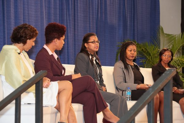 "Panel Discussion on ""The Business Climate as a Launching Pad for Enhanced Growth: Progress and Lessons Learned from Compete Caribbean Projects,"" Left to right: Moderator Tara Lisa Persaud, Compete Caribbean Business Climate Coordinator. Majorie Straw, Manager of Special Projects, (JAMPRO), Melanie Gideon, GM, Enterprise and Innovation, BELTRAIDE, Fiona Hinkson, Executive Director, St. Lucia National Competitiveness and Productivity Council and Merina Jessamy, Permanent Secretary, Ministry of Agriculture, Forestry and Fisheries, Grenada"
