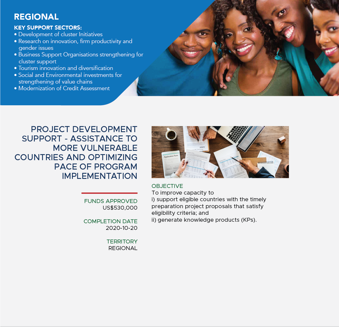 Project development support – assistance to more vulnerable countries and optimizing pace of program implemenetation